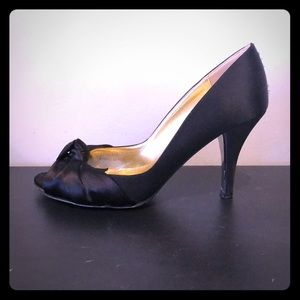 J. Crew Black satin twist heel